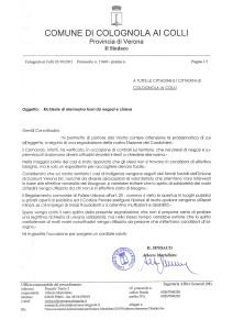 Lettera aperta del Sindaco ai cittadini di Colognola ai Colli (VR)